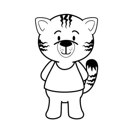 Cartoon tiger animal icon over white background vector illustration