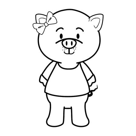 흰색 배경 위에 만화 돼지 동물 아이콘 화려한 디자인 벡터 일러스트 레이 션