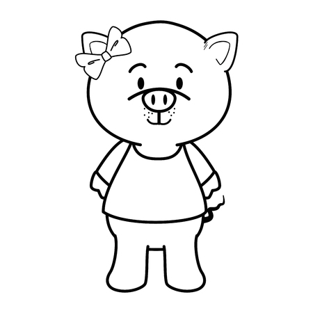 Cartoon pig animal icon over white background colorful design vector illustration