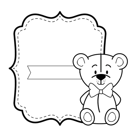 baby shower card with bear icon over white background colorful design vector illustration
