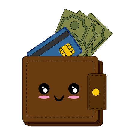 Portefeuille met geld pictogram over witte achtergrond vectorillustratie Stockfoto - 84253060