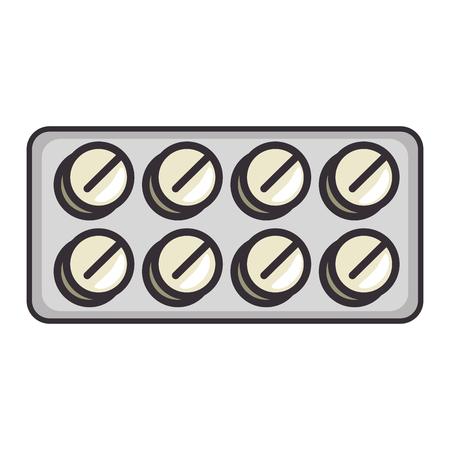 Medicine pills icon over white background vector illustration Çizim