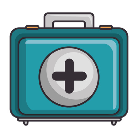 First aid kit icon over white background vector illustration Zdjęcie Seryjne - 84216951