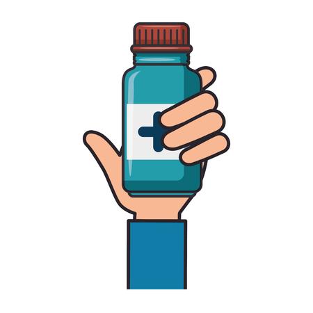 白い背景のベクトル図に薬瓶アイコンを持っている手