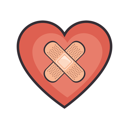 heart and adhesive bandage icon over white background vector illustration Illustration