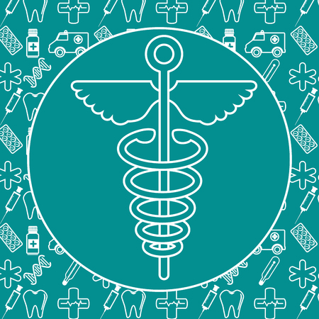 medicine symbol icon over turquoise  background vector illustration