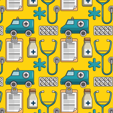 background with medical related icons vector illustration Illustration