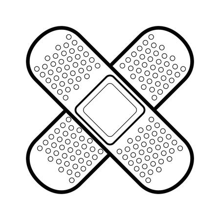 zelfklevende pleisters pictogram over witte achtergrond vectorillustratie