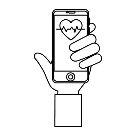 흰색 배경 위에 의료 애플 아이콘으로 스마트 폰을 들고 손 벡터 일러스트 레이 션