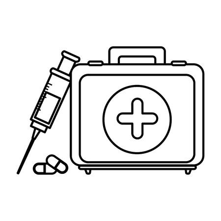 Icona del kit di pronto soccorso su sfondo bianco illustrazione vettoriale Archivio Fotografico - 84253116
