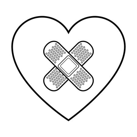 heart and adhesive bandage icon over white background vector illustration 向量圖像
