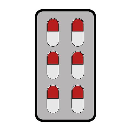 medicijnen pillen icoon over witte achtergrond vector illustratie Stock Illustratie