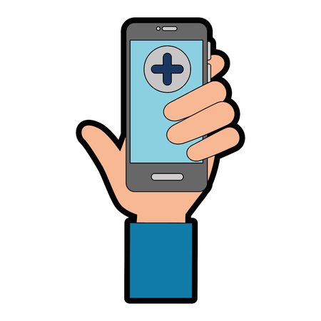 hand holding a smartphone with medical app icon over white background vector illustration