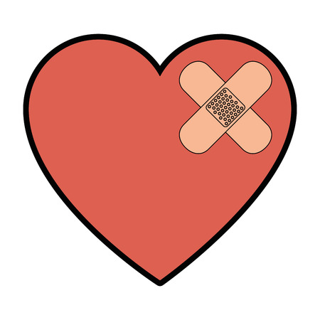 heart and adhesive bandage icon over white background vector illustration Иллюстрация