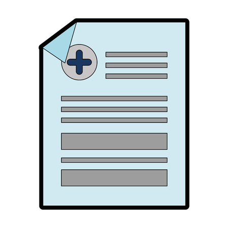 medical report icon over white background vector illustration Çizim