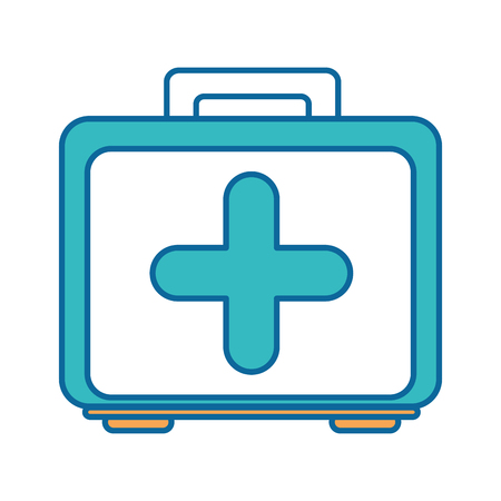 First aid kit icon over white background vector illustration