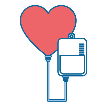 Blood bag and heart icon over white background vector illustration