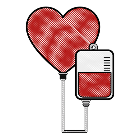 blood bag and heart icon over white background vector illustration 向量圖像