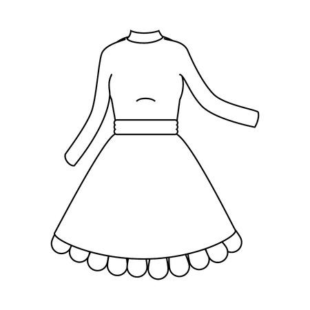 흰색 배경 벡터 일러스트 레이 션을 통해 아름 다운 드레스 아이콘 스톡 콘텐츠 - 84218282