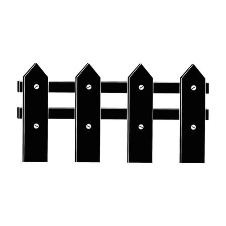 木製のフェンスのイラスト。