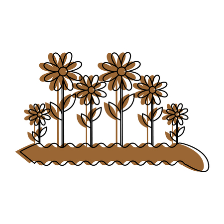Brown flowers growing icon.