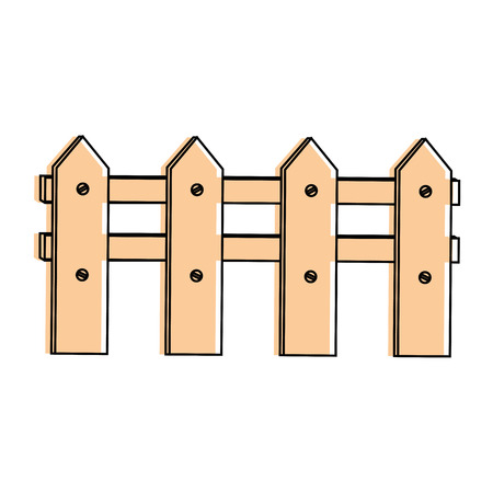 Wooden fence icon. Illustration