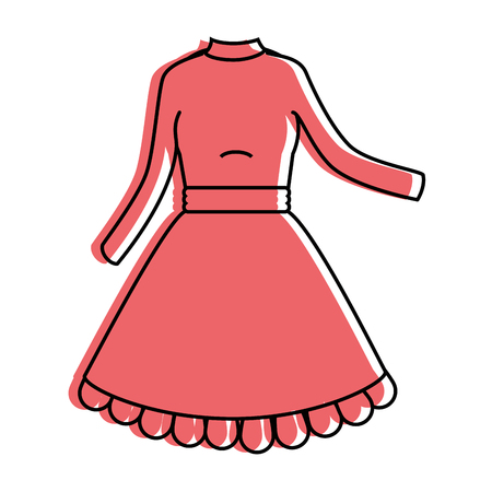 Beautiful red woman outfit icon. Illustration