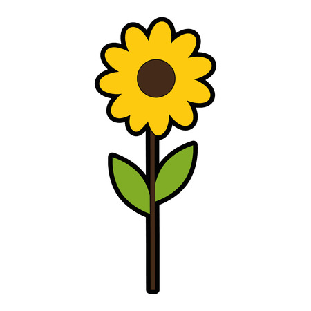 Beautiful yellow flower icon.