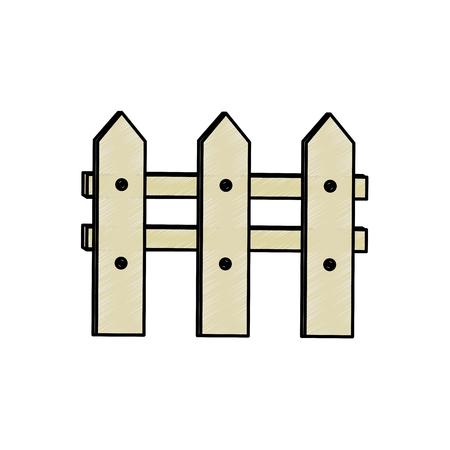 白い背景のベクトル図を木製フェンス アイコン  イラスト・ベクター素材
