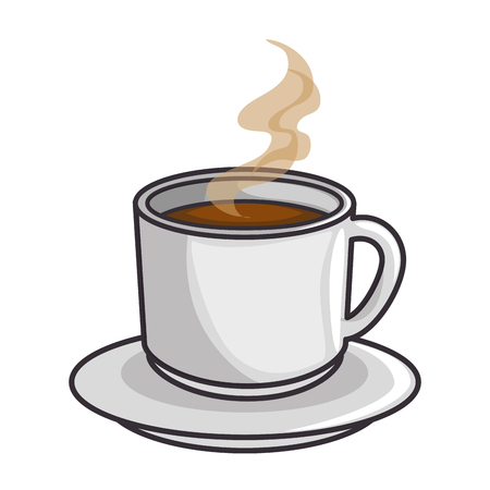 hot coffee mug icon over white background vector illustration