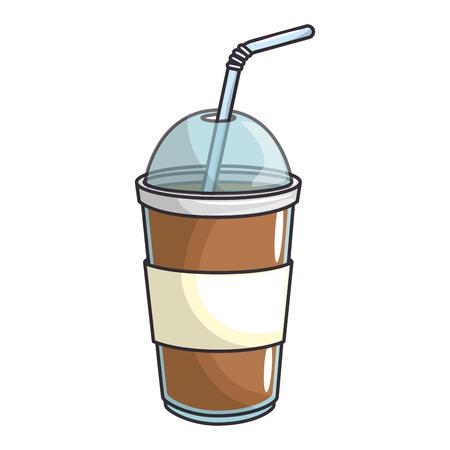 흰색 배경 위에 커피 음료 아이콘 화려한 디자인 벡터 일러스트 레이 션 스톡 콘텐츠 - 84219596
