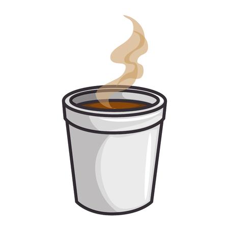 흰색 배경 벡터 일러스트 레이 션 위에 뜨거운 커피 잔 아이콘 스톡 콘텐츠 - 84219597