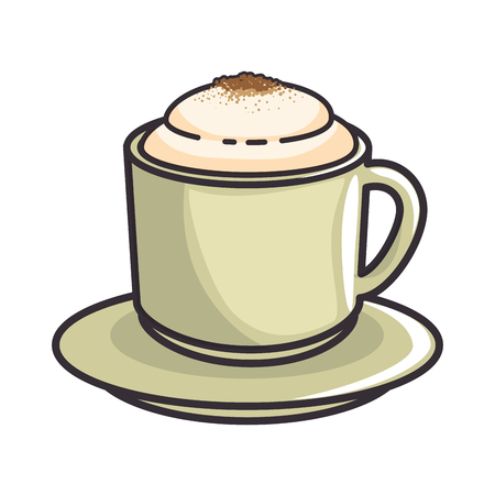 coffee mug icon over white background vector illustration Çizim