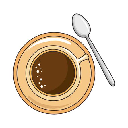 흰색 배경 벡터 일러스트 레이 션 위에 커피 잔 및 숟가락 아이콘 스톡 콘텐츠 - 84231179