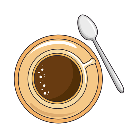 coffee mug and spoon icon over white background vector illustration Illustration