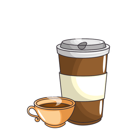 coffee mug and cup icon over white background vector illustration Illustration