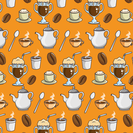 Background of coffee related icons colorful design vector illustration Illustration