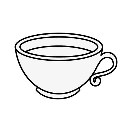A coffee mug icon over white background vector illustration. Çizim