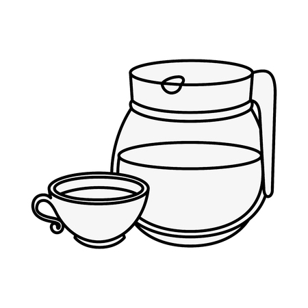 A coffee mug and pot icon over white background vector illustration. Иллюстрация