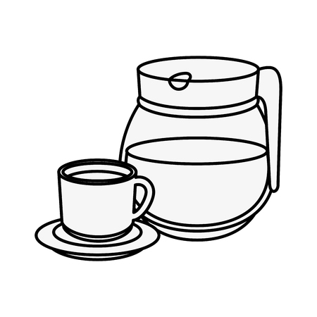 A coffee mug and pot icon over white background vector illustration. Çizim