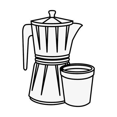 Italian coffee maker icon over white background vector illustration.