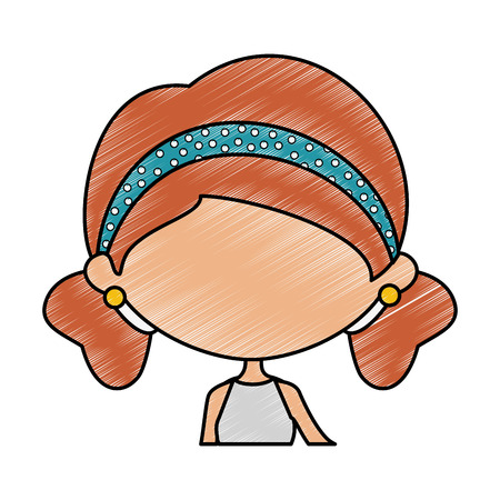 Girl face icon over white background colorful design vector illustration