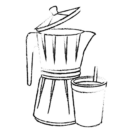 italian coffee maker icon over white background vector illustration Illusztráció