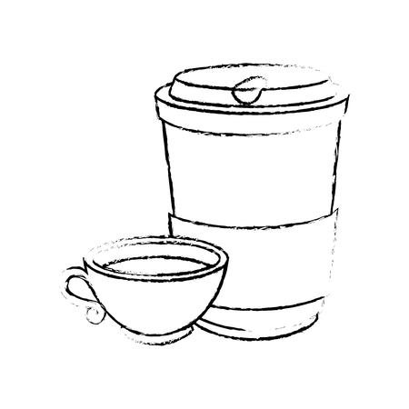 Coffee mug and cup icon over white background vector illustration
