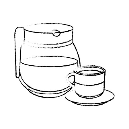 Coffee mug and pot icon over white background vector illustration