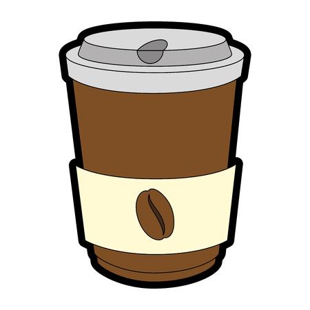 흰색 배경 벡터 일러스트 레이 션을 통해 커피 컵 아이콘 스톡 콘텐츠 - 84217266