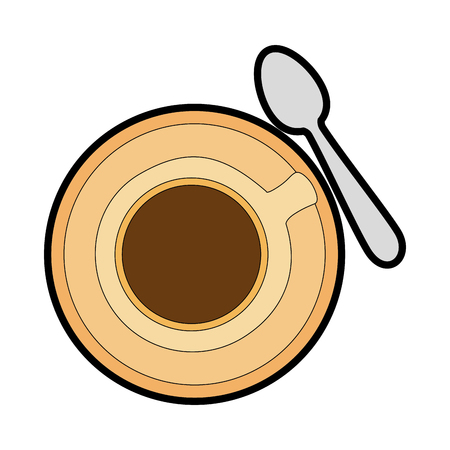 coffee mug and spoon icon over white background vector illustration Çizim