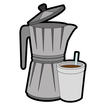 Italiaanse koffiezetapparaat pictogram op witte achtergrond vector illustratie