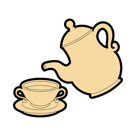 koffiemok en pot pictogram over witte achtergrond vectorillustratie