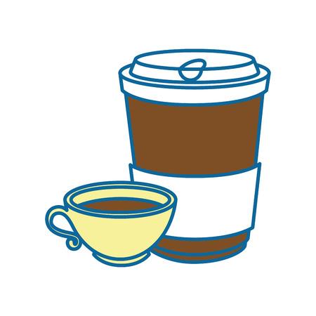 koffiemok en beker pictogram over witte achtergrond vectorillustratie